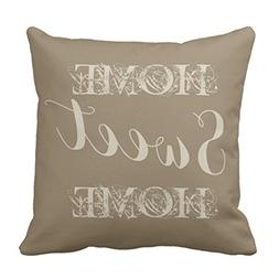 Zazzle Stylish Beige Taupe Home Sweet Home Throw Pillow 16""