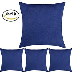 DEZENE Throw Pillow Covers,4 Pack Natural Linen Look Fabric