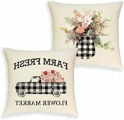 Summer Black White Plaid Throw Cover Pillow Cushion Case Far