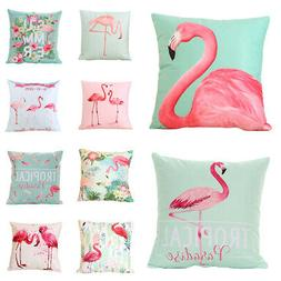 Summer Flamingo Throw Pillow Case Square Cushion Cover Home