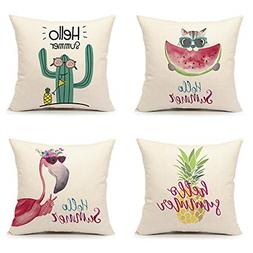 4TH Emotion Summer Throw Pillow Cover Pineapple Flamingo Cac