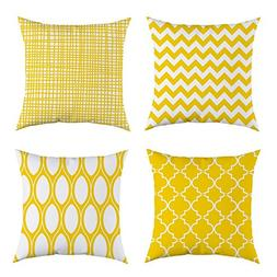 4TH Emotion Set of 4 Sunny Yellow Geometric Throw Pillow Cov