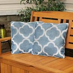 Sunnydaze Set of 2 Outdoor Throw Pillows - 16-Inch - Blue an