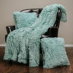 Chanasya 3-Piece Super Soft Shaggy Throw Blanket Pillow Cove