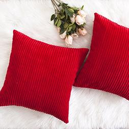 HOME BRILLIANT Decorative Throw Pillow Covers Striped Velvet