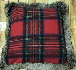 LANDS END TARTAN PLAID Fur Trimmed Feather Down TOSS Throw P