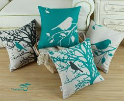CaliTime Teal Cushion Covers Throw Pillows Bird Tree Branche