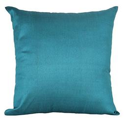 The White Petals Set of 2 Teal Art Silk Pillow Covers, Plain