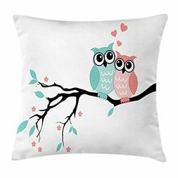 Teal and White Throw Pillow Cushion Cover by Ambesonne, Cute