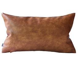 Kdays Thick Faux Leather Lumbar Pillow Cover Tan Decorative