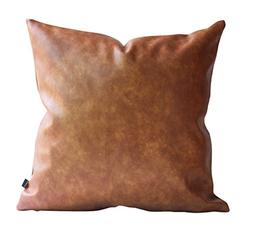 Kdays Thick Faux Leather Pillow Cover Tan Decorative For Cou