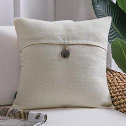 Throw Pillow Case Button Vintage Linen Decorative Soft Cushi