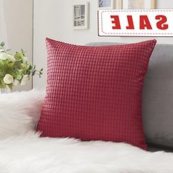 Throw Pillow Case Decorative Soft Faux Leather Square Cushio