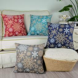 CaliTime Throw Pillows Cases Cushion Covers Christmas Snowfl