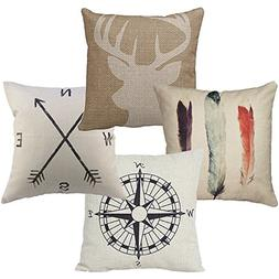 |4-Pack| Throw Pillow Cover, Cotton Square Pillow Case Cushi