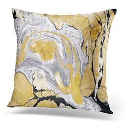 UPOOS Throw Pillow Cover Black Gold Golden and Silver Marble