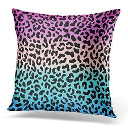 Breezat Throw Pillow Cover Black Zebra Gradient Pink and Blu