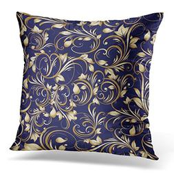 VANMI Throw Pillow Cover Blue Rococo Paisley Floral with Vin