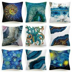 Throw PILLOW COVER Blue White Decorative Double-Sided Soft C