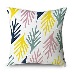 FabricMCC Throw Pillow Cover Bold Colorful Leaf Pattern Pink