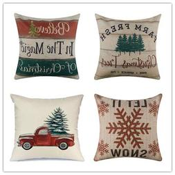 Acelive Throw Pillow Cover Farmhouse Merry Christmas Xmas Da