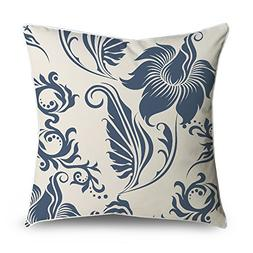 FabricMCC Throw Pillow Cover Floral Damask Dark Blue on Crea