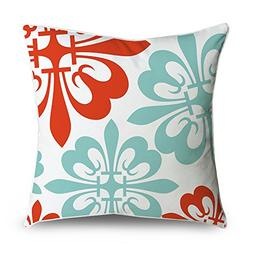 FabricMCC Throw Pillow Cover Flowers Red and Teal on White S