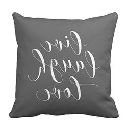 Emvency Throw Pillow Cover Her Gray Live Laugh Love Grey Dec