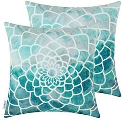 "CaliTime Throw Pillow Cover Hand Painted, 18x18"" Print Decor"