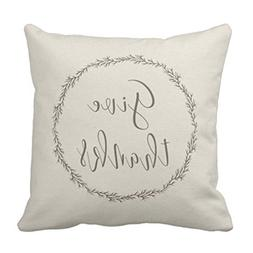 Emvency Throw Pillow Cover Neutral Thanks Holiday Christmas