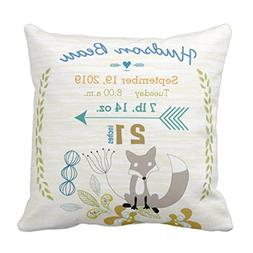 Emvency Throw Pillow Cover Nursery Birth Stats Baby Boy Wood