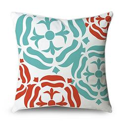 FabricMCC Throw Pillow Cover Red and Teal Blue Floral Damask