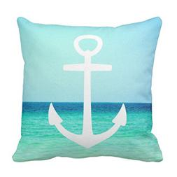 Emvency Throw Pillow Cover Turquoise White and Blue Nautical