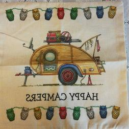 """Throw Pillow Cover Vintage TEAR DROP Camper 17"""" x 17 Camping"""