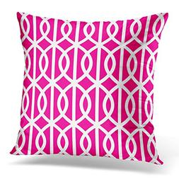 VANMI Throw Pillow Cover White Outdoor Hot Pink Trellis Patt