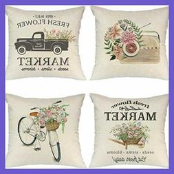"""Throw Pillow Covers 18X18"""" Set Of 4 Linen For Farmhouse S Of"""