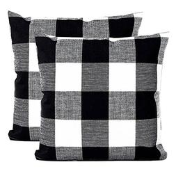Famibay Set of 2 Throw Pillow Covers, Square Tartan Cotton L