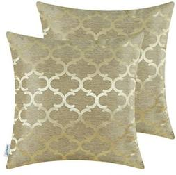 CaliTime Throw Pillow Cushion Covers, Quatrefoil Poly Jacqua