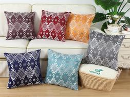 CaliTime Throw Pillow Covers Cases Shells Southwestern Plaid