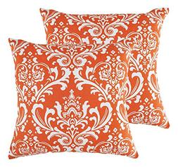 TreeWool 2 Pack Throw Pillow Covers Damask Accent Decorative