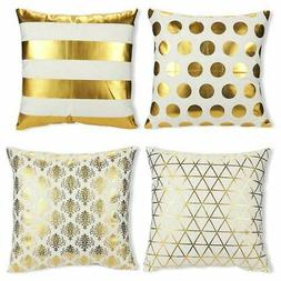 Juvale Throw Pillow Covers - 4-Pack Gold Decorative Couch Th