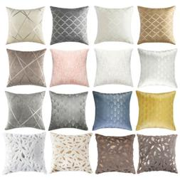 Throw Pillow Covers Geometric Jacquard Chenille Faux Fur Sof