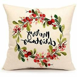 Throw Pillow Covers 4TH Emotion Merry Christmas Berry Wreath