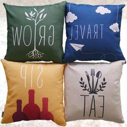 Throw Pillow Covers Set of 4 | Throw Pillow Set Fits 18x18 &