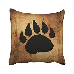 Accrocn Throw Pillow Covers Vintage Lovely Black Bear Paw Pr
