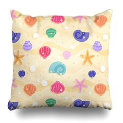 Asoco Throw Pillow Covers,Colored Seashells Double-sided Pat