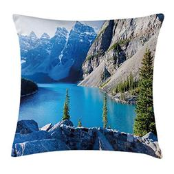 Ambesonne Nature Throw Pillow Cushion Cover by, Moraine Lake