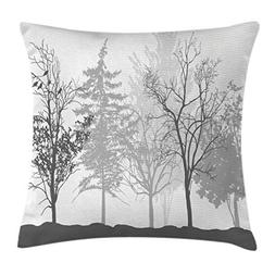 Ambesonne Nature Throw Pillow Cushion Cover, Silhouette of T