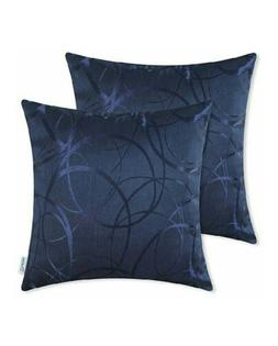 "CaliTime Throw Pillow Cushion Covers 20""x20"" Navy BL 2 Pcs"