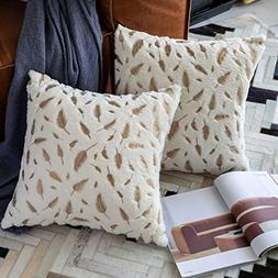OMMATO Throw Pillows Covers 18 x 18,Set of 2 White Fur with